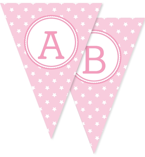 Baby Pink Star Bunting Flags