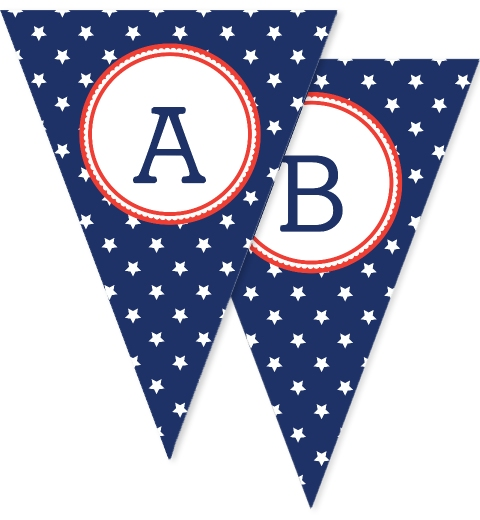 Navy Stars Bunting Flags