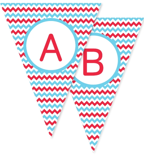 Red & Blue Chevron Bunting Flags