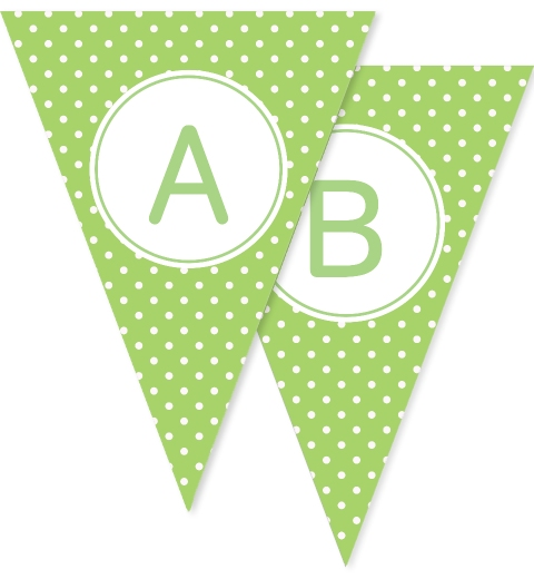 Apple Green Polka Dot Bunting Flags