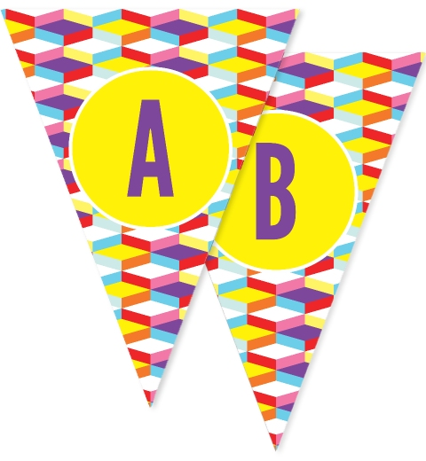 Bright Geometric Bunting Flags