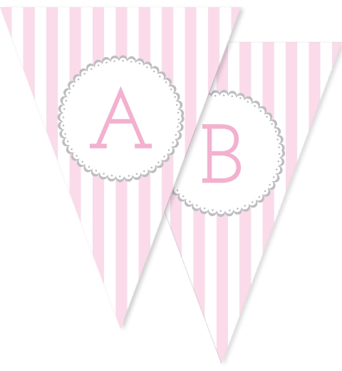 Baby Pink & Grey Stripe Bunting Flags