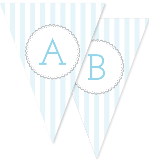Baby Blue & Grey Stripe Bunting Flags