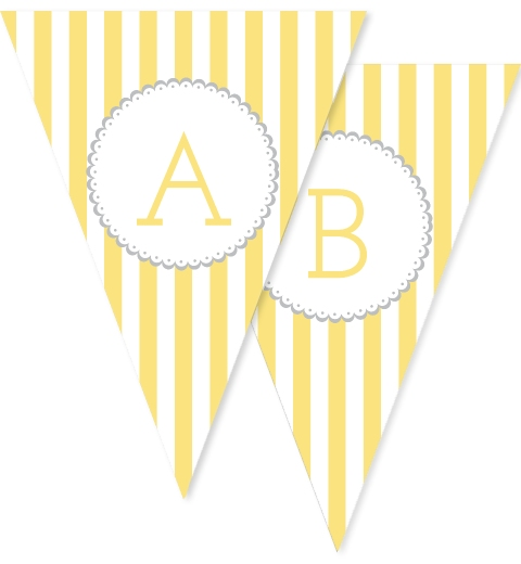Yellow & Grey Stripe Bunting Flags