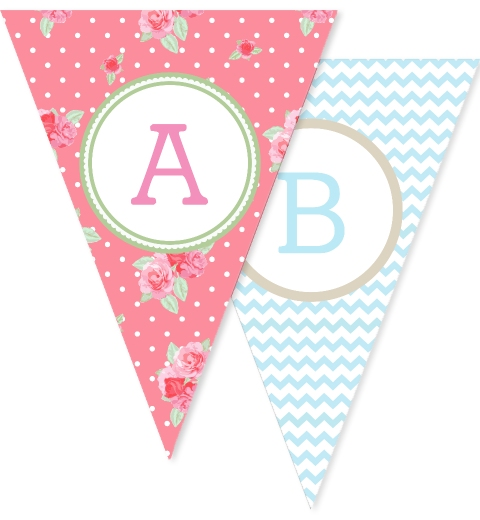 Floral Chevron Bunting Flags