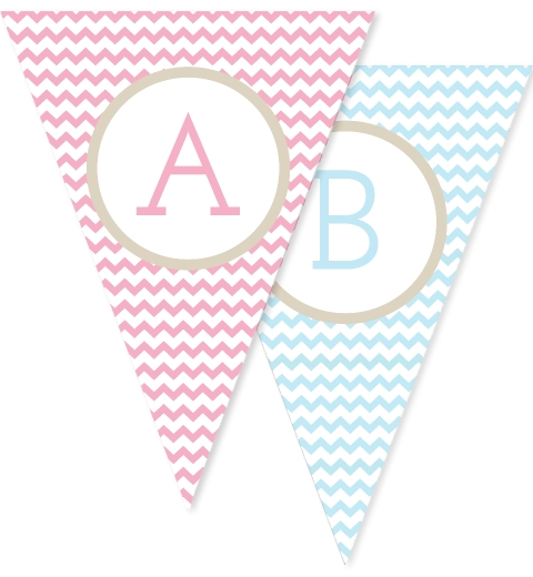 Baby Pink & Blue Chevron Bunting Flags