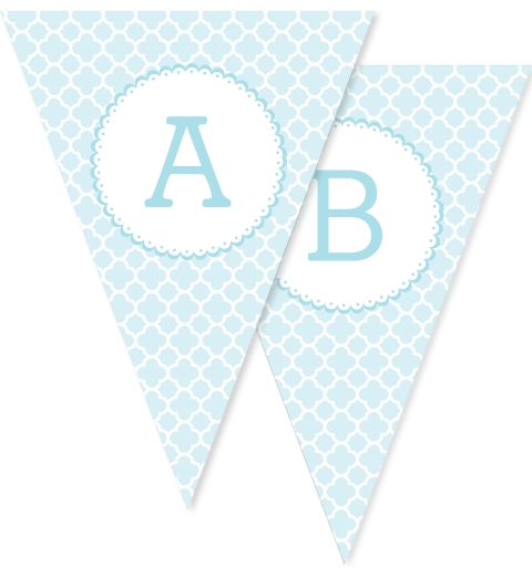 Baby Blue Quatrefoil Bunting Flags