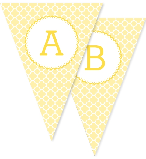 Lemon Quatrefoil Bunting Flags