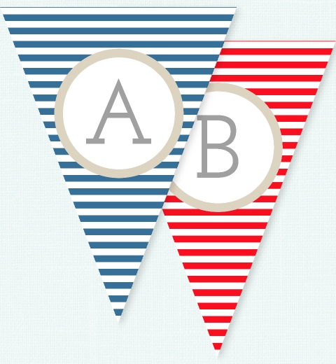 Navy & Red Stripe Bunting Flags