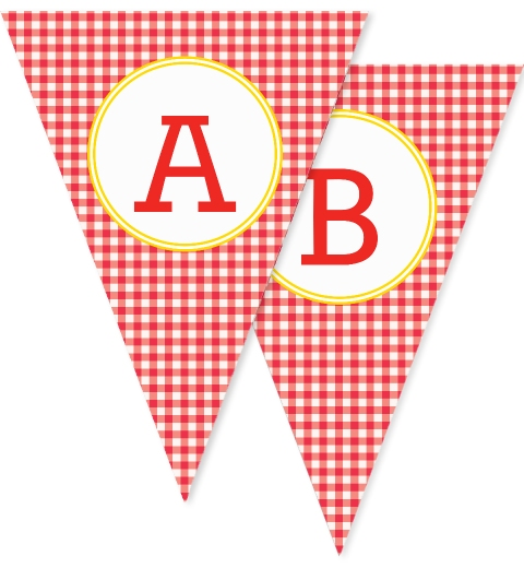 Red Gingham Bunting Flags