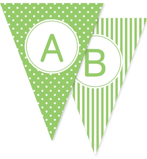 Green Dots Stripes & Stars Bunting Flags