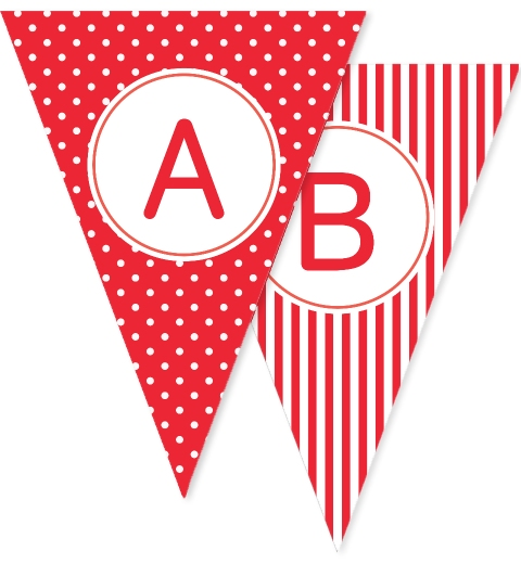 Red Dots Stripes & Stars Bunting Flags