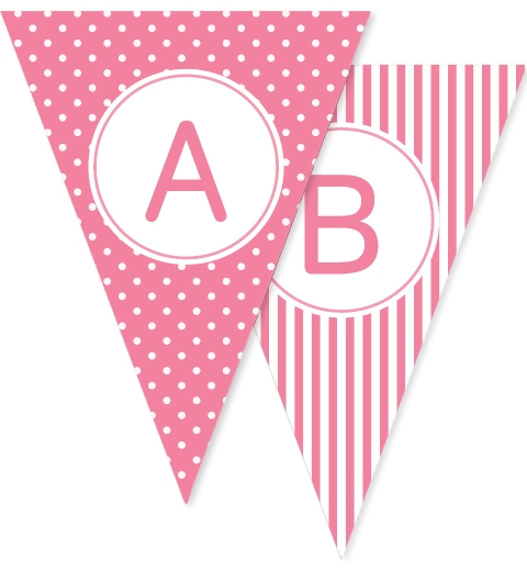 Pink Dots Stripes & Stars Bunting Flags