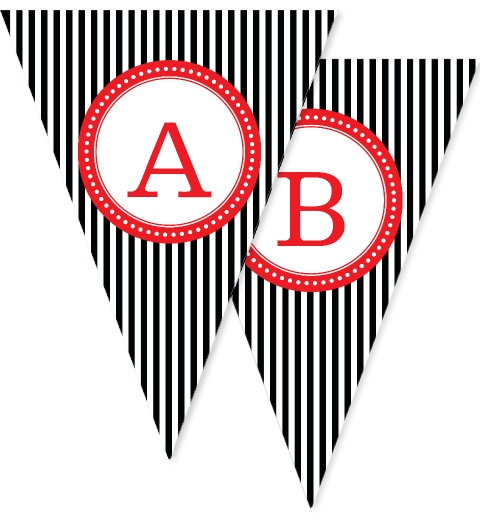 Black & Red Stripe Bunting Flags