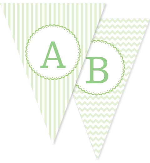 Mint Patterned Bunting Flags