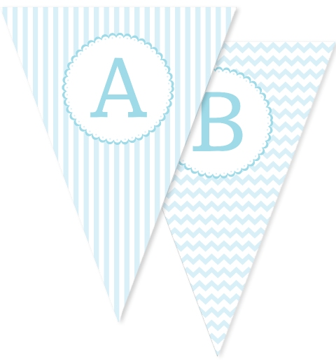 Baby Blue Patterned Bunting Flags