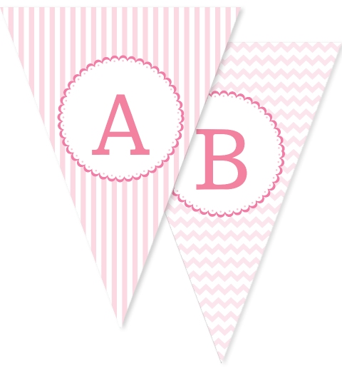 Baby Pink Patterned Bunting Flags
