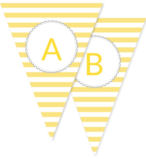 Yellow & White Horizontal Stripe Bunting Flags