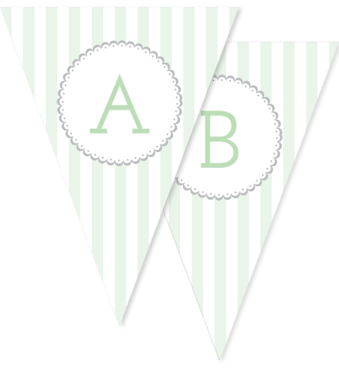 Mint Stripe Bunting Flags