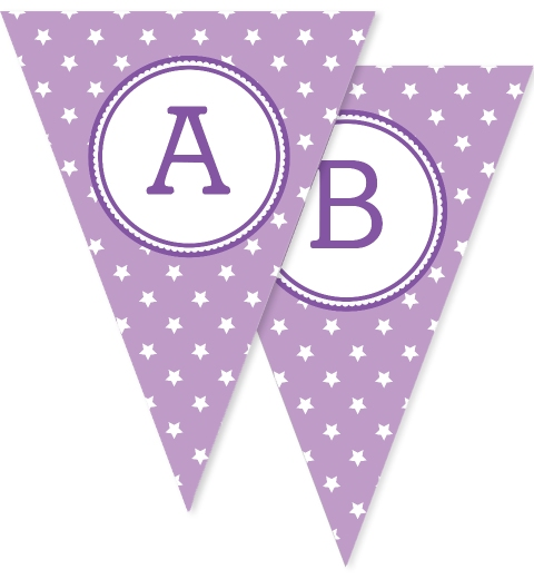 Purple Star Bunting Flags
