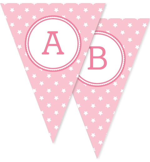 Pink Star Bunting Flags