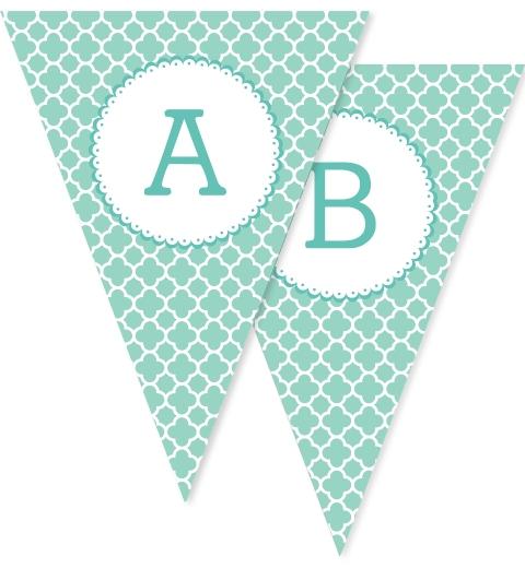 Aqua Quatrefoil Bunting Flags