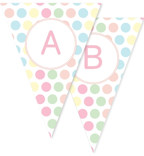 Pastel Giant Polka Dot Bunting Flags