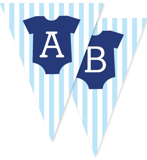 Baby Blue Onesie Bunting Flags