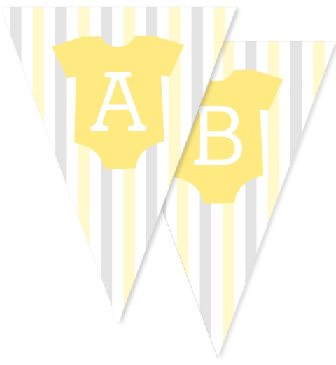 Lemon & Grey Onesie Bunting Flags