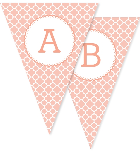 Peach Quatrefoil Bunting Flags