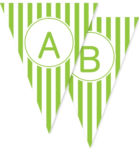 Apple Green Stripe Bunting Flags