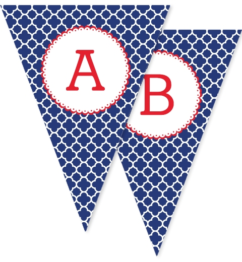 Navy & Red Quatrefoil Bunting Flags