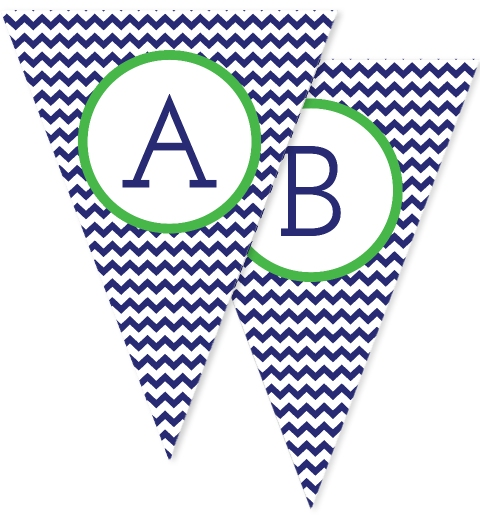 Navy & Green Chevron Bunting Flags