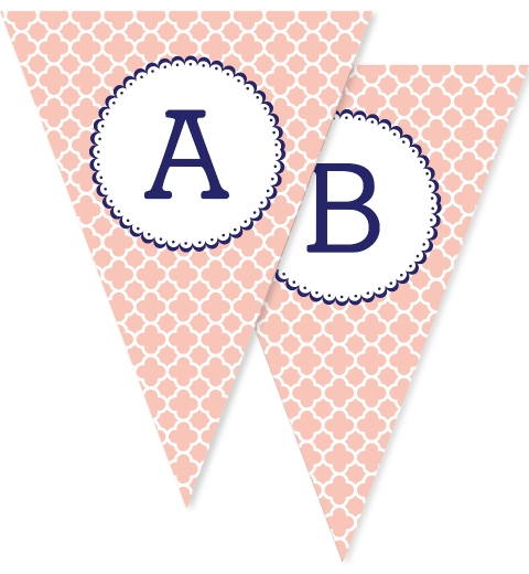 Navy & Peach Quatrefoil Bunting Flags