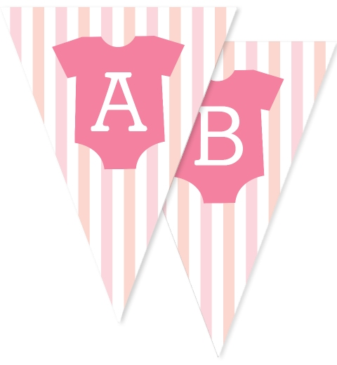 Peach & Pink Onesie Bunting Flags