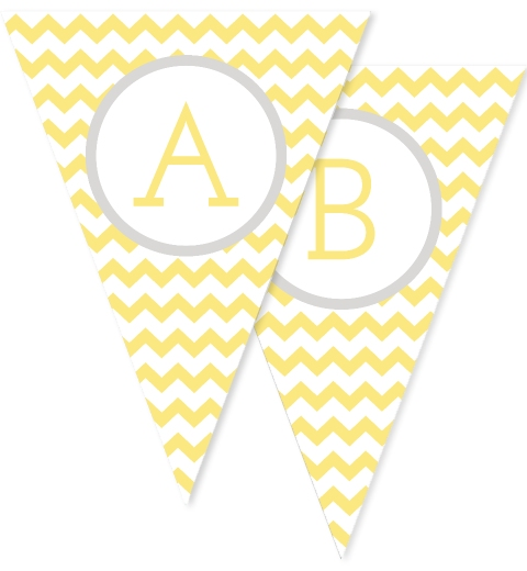 Lemon & Grey Large Chevron Bunting Flags