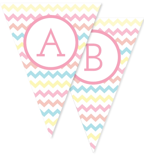 Pastel Rainbow Large Chevron Bunting Flags