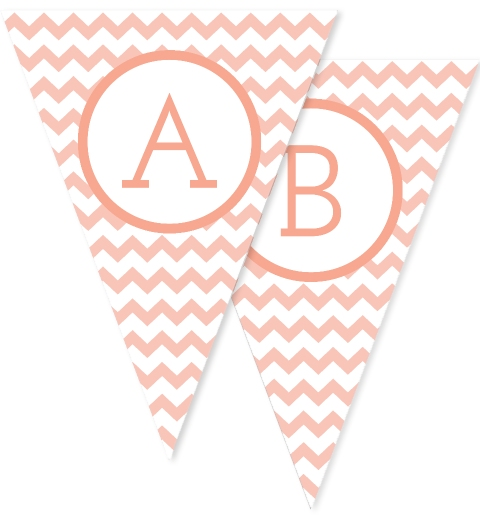 Peach Large Chevron Bunting Flags