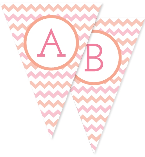 Peach & Pink Large Chevron Bunting Flags