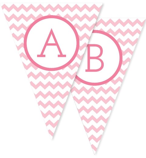 Baby Pink Large Chevron Bunting Flags