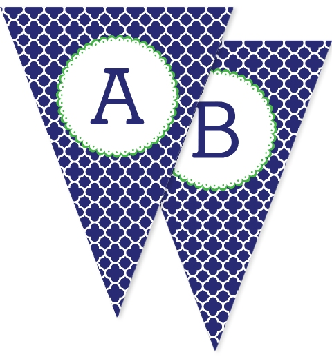 Navy & Green Quatrefoil Bunting Flags