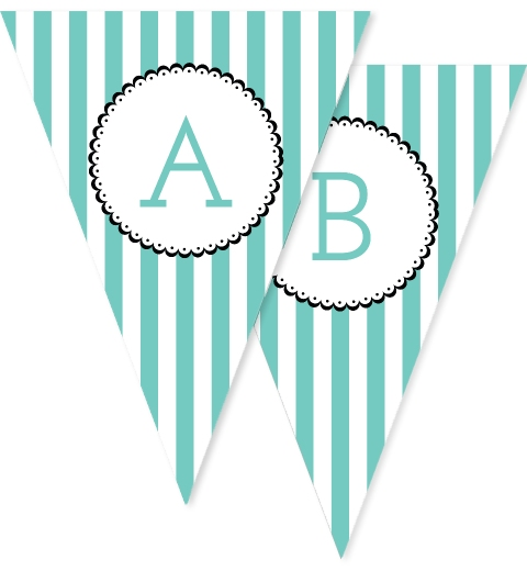 Teal & White Stripe Bunting Flags