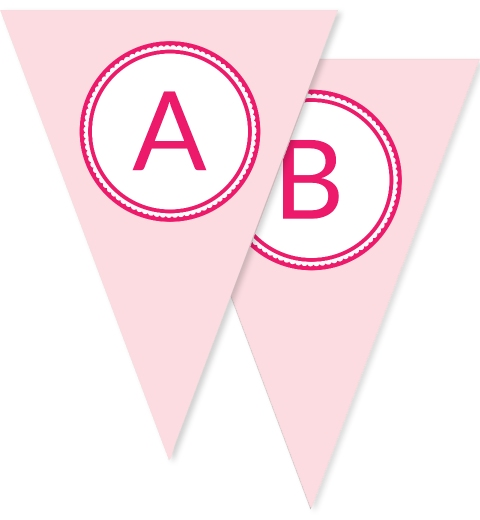 Baby Pink & Rose Pink Bunting Flags