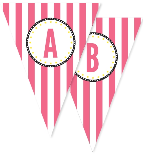 Pink & Black Stripe Bunting