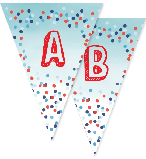 Blue Confetti Bunting Flags