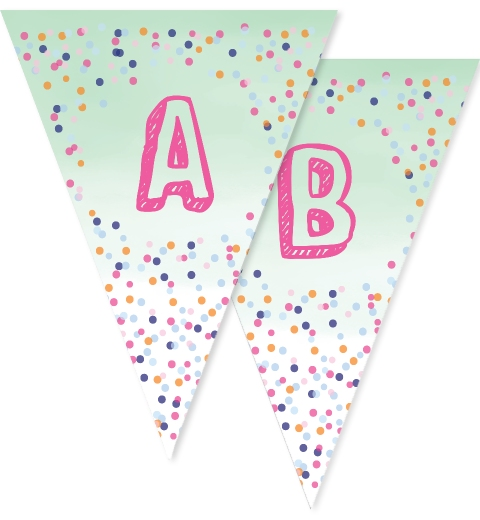 Mint Confetti Bunting Flags