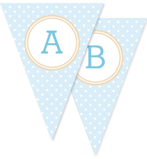 Baby Blue & Tan Polka Dot Bunting Flags