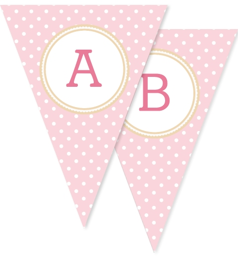 Baby Pink & Tan Poilka Dot Bunting Flags