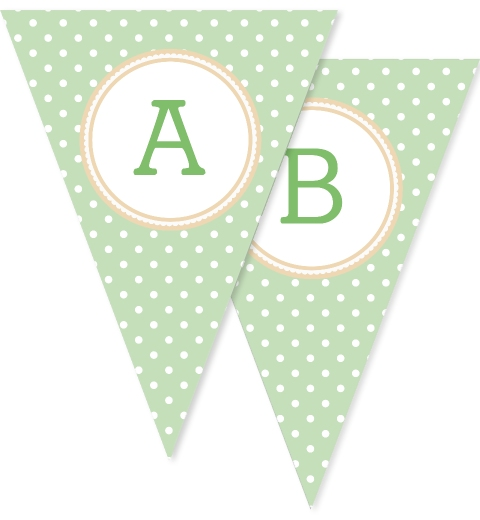 Mint & Tan Polka Dot Bunting Flags