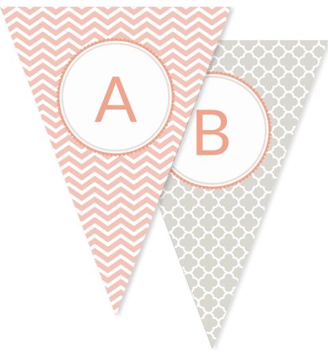 Peach Chevron Quatrefoil & Floral Bunting Flags